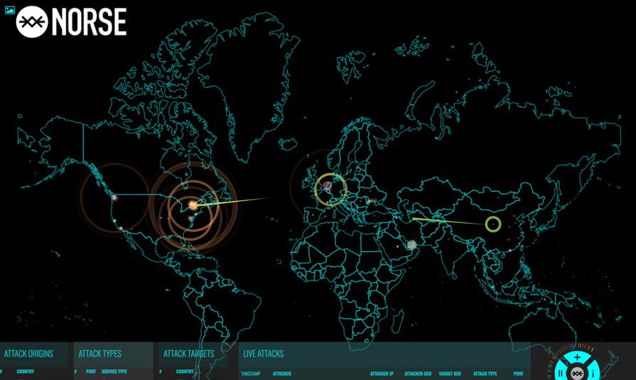 Norse社提供のサイバー攻撃可視化ツール「NORSE」