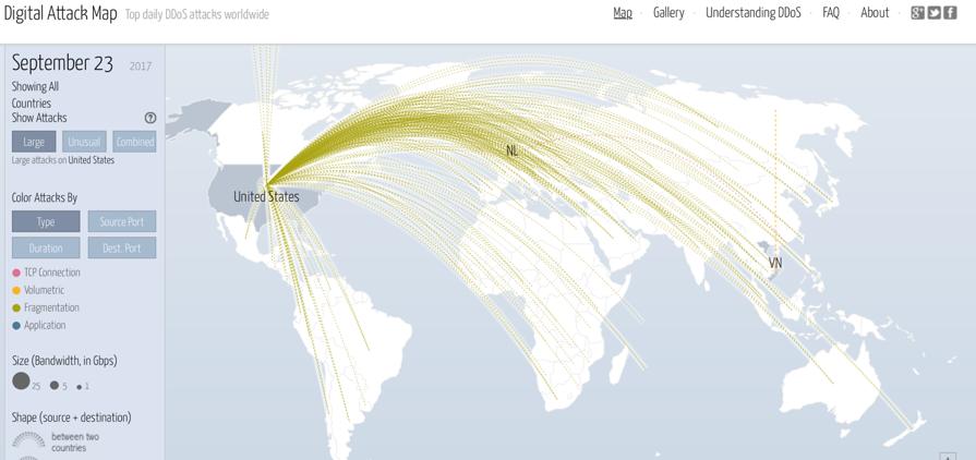 Googleが提供するDDoS攻撃可視化ツール「DIgital Attack Map」
