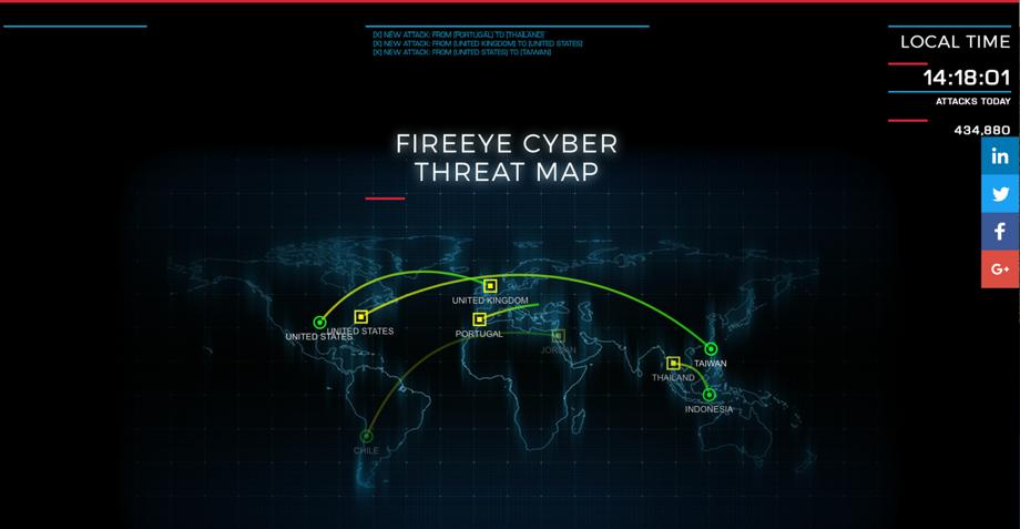 FireEye社が提供するサイバー攻撃可視化ツール「FireEye Cyber Threat Map」